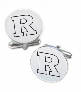 Rutgers Scarlett Knights Stainless Steel Cufflinks with Round Top