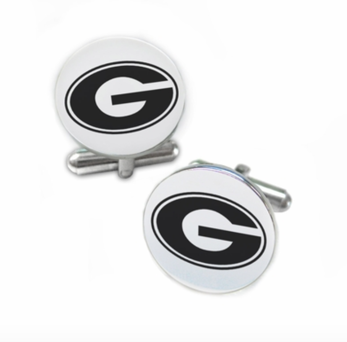 College Jewelry Mississippi State Bulldogs Stainless Steel Round Cufflinks