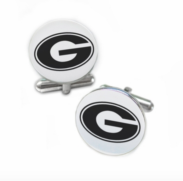 Georgia Bulldogs Stainless Steel Cufflinks with Round Top - DealsAmazingDeals.com