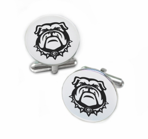 Georgia Bulldogs Bulldog Stainless Steel Cufflinks with Round Top