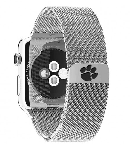 Clemson Tigers Stainless Steel Replacement Apple Watch Band - DealsAmazingDeals.com