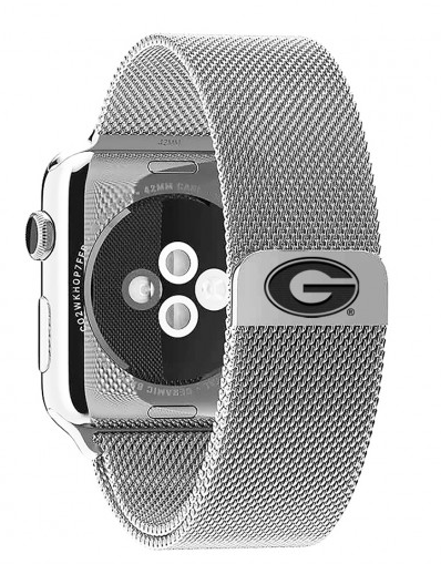 Georgia Bulldogs Stainless Steel Replacement Apple Watch Band - DealsAmazingDeals.com