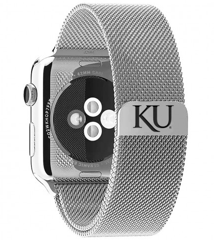 Kansas Jayhawks Stainless Steel Replacement Apple Watch Band