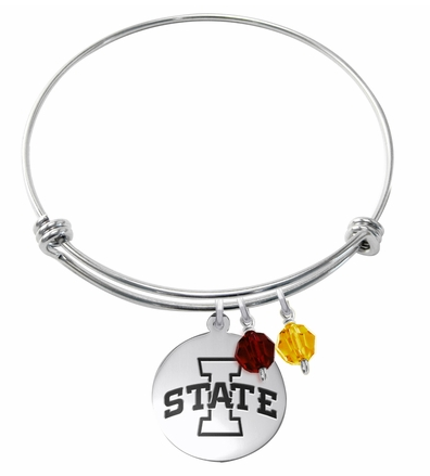 Iowa State Cyclones Stainless Steel Bangle Bracelet with Round Charm - DealsAmazingDeals.com