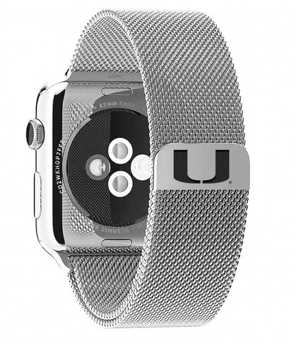 Miami Hurricanes Stainless Steel Replacement Apple Watch Band - DealsAmazingDeals.com