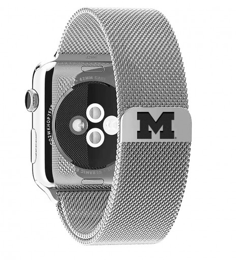 Michigan Wolverines Stainless Steel Replacement Apple Watch Band - DealsAmazingDeals.com