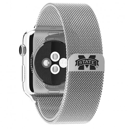 Mississippi State Bulldogs Stainless Steel Replacement Apple Watch Band - DealsAmazingDeals.com