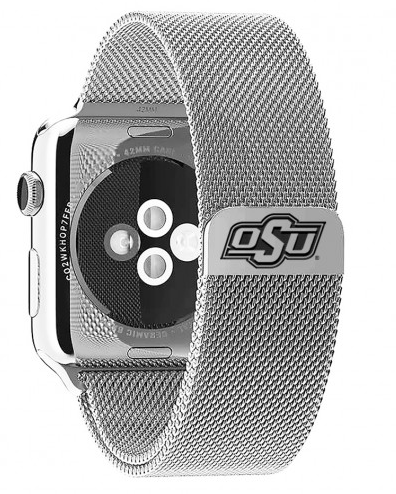 Oklahoma State Cowboys Stainless Steel Replacement Apple Watch Band - DealsAmazingDeals.com