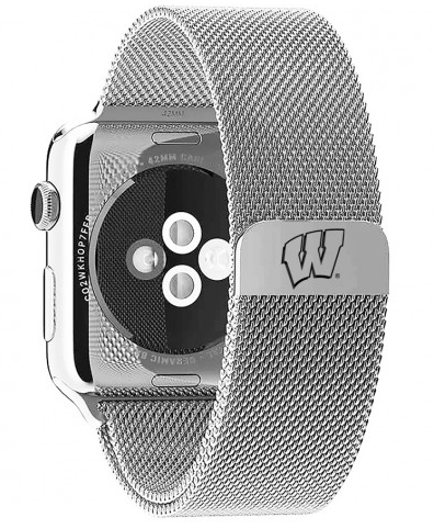 Wisconsin Badgers Stainless Steel Replacement Apple Watch Band - DealsAmazingDeals.com