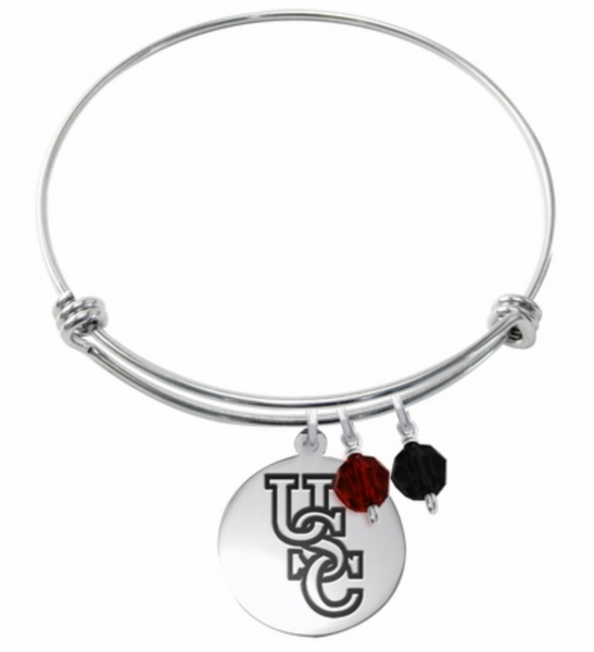 South Carolina Gamecocks Stainless Steel Bangle Bracelet with Round Charm