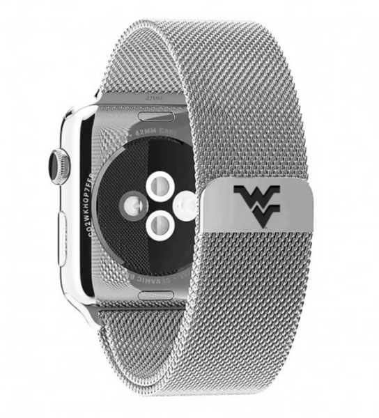 West Virginia Mountaineers Stainless Steel Replacement Apple Watch Band - DealsAmazingDeals.com