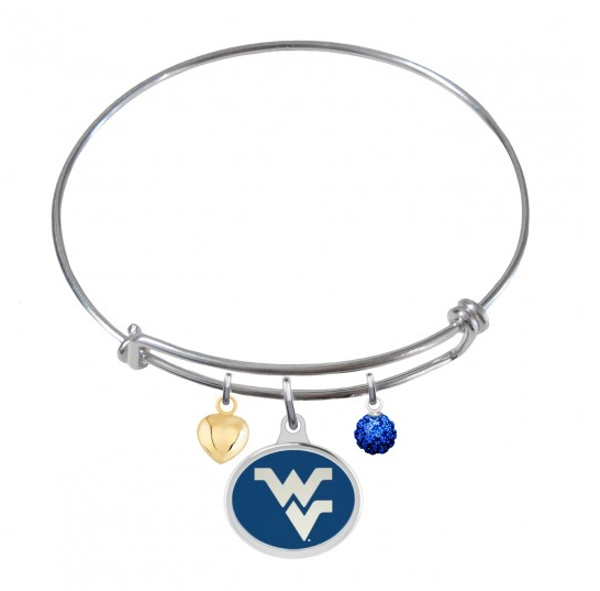 West Virginia Mountaineers Stainless Steel Adjustable Bangle Bracelet with Heart Charm