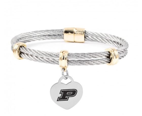 Purdue Boilermakers Charm Bracelet Stainless Steel Magnetic Clasp Bangle