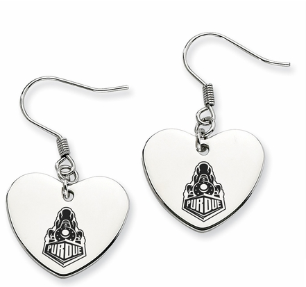 Purdue Boilermakers Stainless Steel Heart Earrings