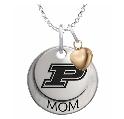 Purdue Boilermakers MOM Necklace with Heart Accent