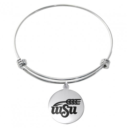 Wichita State Shockers Stainless Steel Bangle Bracelet with Round Charm - DealsAmazingDeals.com