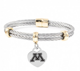 Minnesota Golden Gophers Charm Bracelet Stainless Steel Magnetic Clasp Bangle - DealsAmazingDeals.com