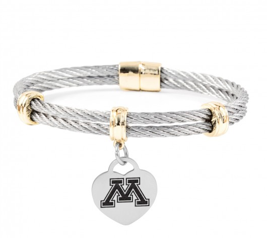 Minnesota Golden Gophers Charm Bracelet Stainless Steel Magnetic Clasp Bangle