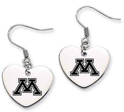 Minnesota Golden Gophers Stainless Steel Heart Earrings - DealsAmazingDeals.com