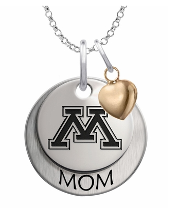 Minnesota Golden Gophers MOM Necklace with Heart Accent - DealsAmazingDeals.com