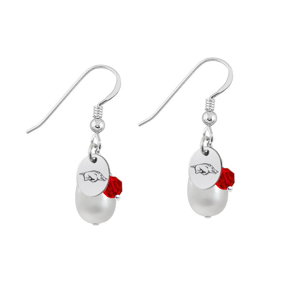 Arkansas Razorbacks Color and Freshwater Pearl Earrings - DealsAmazingDeals.com