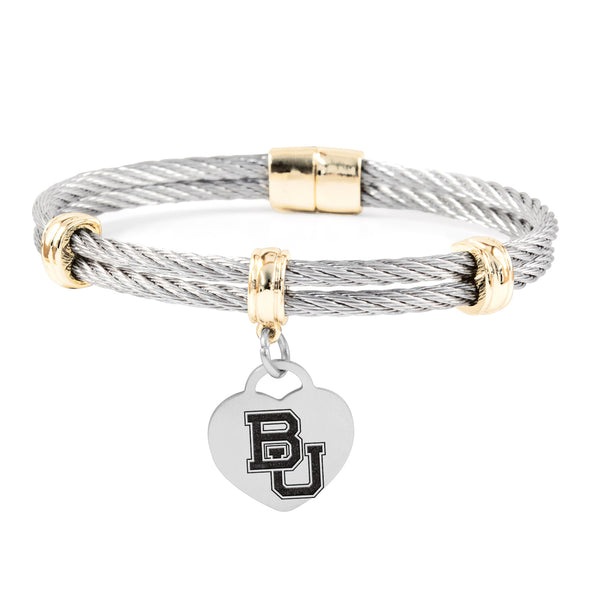 Baylor Bears Charm Bracelet Stainless Steel Magnetic Clasp Bangle - DealsAmazingDeals.com