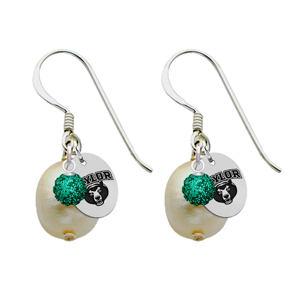 Baylor Bears Color and Freshwater Pearl Earrings - DealsAmazingDeals.com