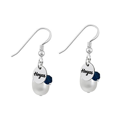 Georgetown Hoyas Silver, Color and Cultured Freshwater Pearl Drop Earrings