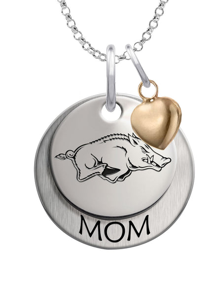 Arkansas Razorbacks MOM Necklace with Heart Accent - DealsAmazingDeals.com