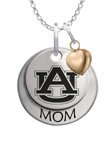 Auburn Tigers MOM Necklace with Heart Accent - DealsAmazingDeals.com