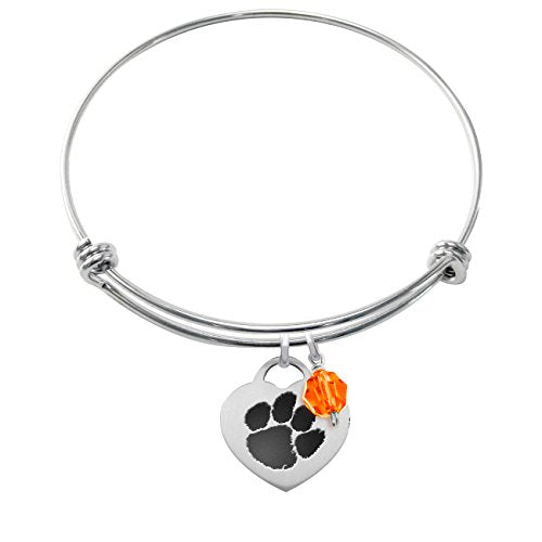 Clemson Tigers Stainless Steel Adjustable Bangle Bracelet with Heart Charm & Crystal Accent - DealsAmazingDeals.com