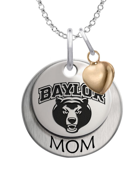 Baylor Bears MOM Necklace with Heart Accent - DealsAmazingDeals.com