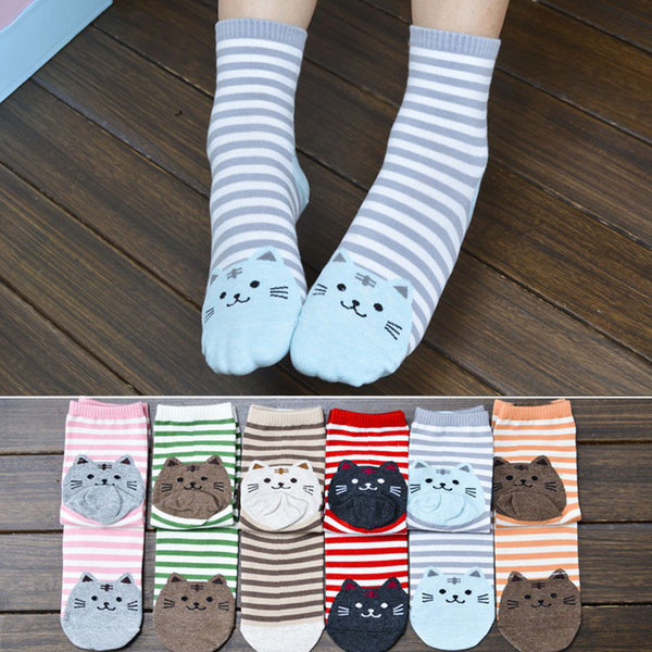 MEOW Striped Cartoon Cat Socks