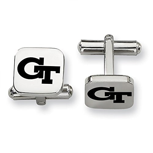 Georgia Tech Yellow Jackets Stainless Steel Square Cufflinks - DealsAmazingDeals.com