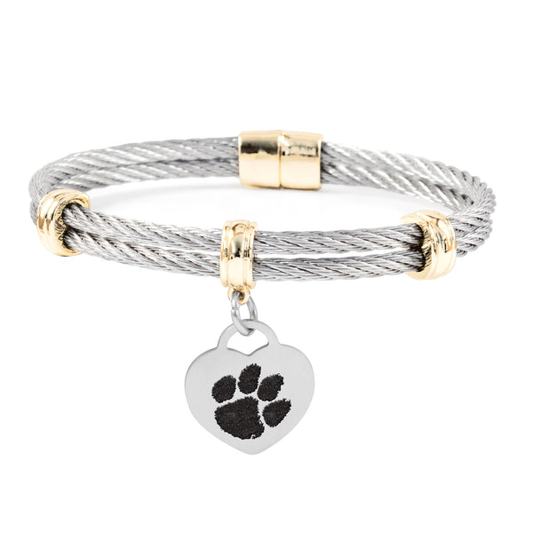 Clemson Tigers Charm Bracelet Stainless Steel Magnetic Clasp Bangle - DealsAmazingDeals.com