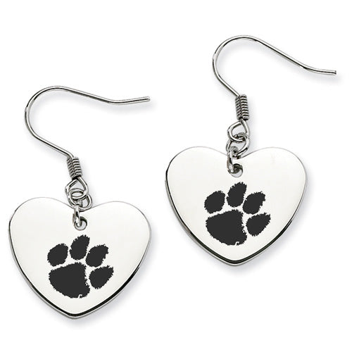 Clemson Stainless Steel Heart Earrings - DealsAmazingDeals.com