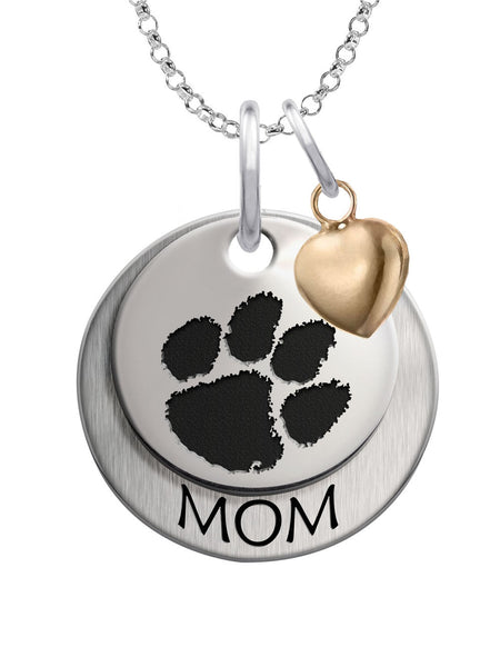 Clemson Tigers MOM Necklace with Heart Accent - DealsAmazingDeals.com