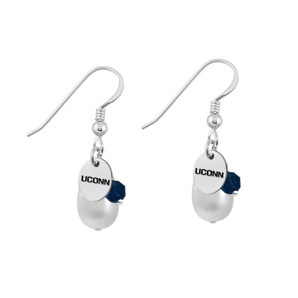 Connecticut Huskies Color and Freshwater Pearl Earrings - DealsAmazingDeals.com