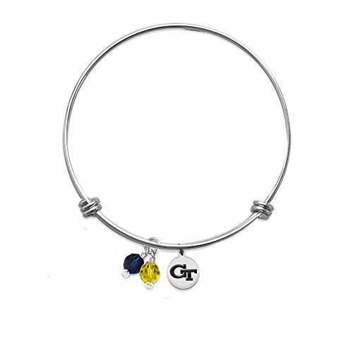 PETITE Georgia Tech Yellow Jackets Bracelet With 10mm Charm - Stainless Steel (Two Crystals)