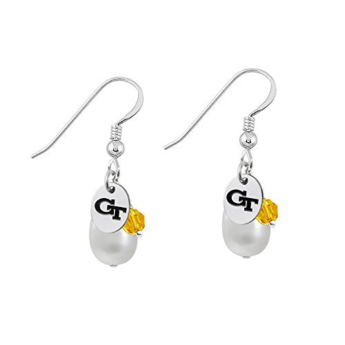 Georgia Tech Yellow Jackets Silver, Color and Cultured Freshwater Pearl Drop Earrings