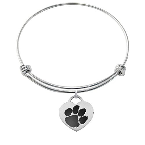 Clemson Tigers Stainless Steel Adjustable Bangle Bracelet with Heart Charm - DealsAmazingDeals.com