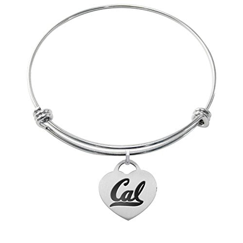 California Berkeley Golden Bears Stainless Steel Heart Adjustable Bangle Bracelets - DealsAmazingDeals.com