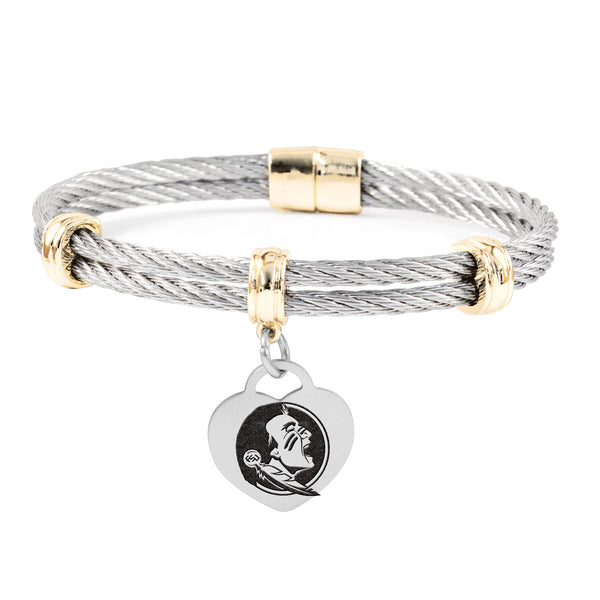 Florida State Seminoles Charm Bracelet Stainless Steel Magnetic Clasp Bangle - DealsAmazingDeals.com