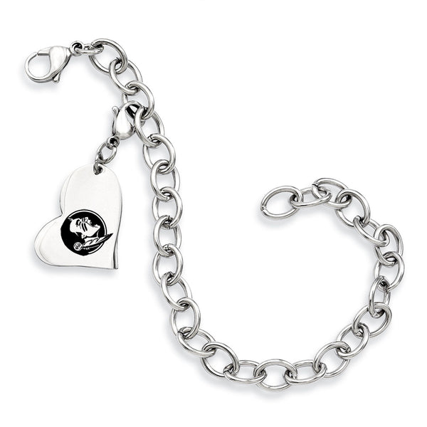 Florida State Seminoles Stainless Heart Bracelet