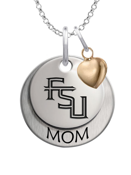 Florida State Seminoles MOM Necklace with Heart Accent - DealsAmazingDeals.com