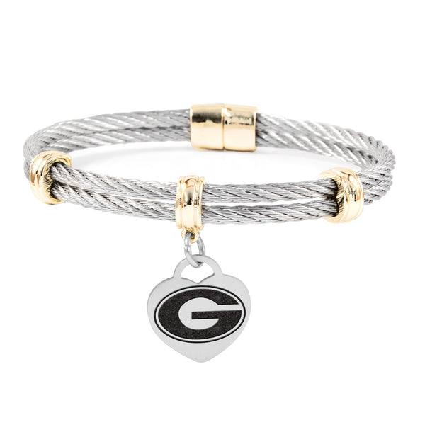 Georgia Bulldogs Charm Bracelet Stainless Steel Magnetic Clasp Bangle