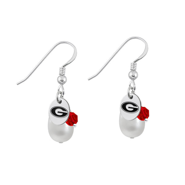 Georgia Bulldogs Color and Freshwater Pearl Earrings