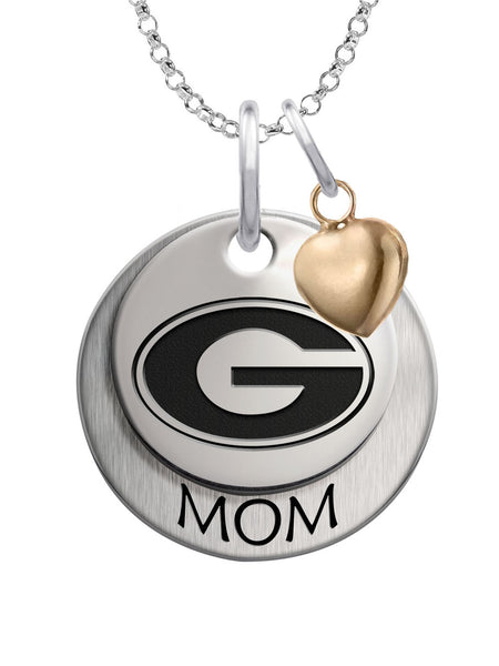 Georgia Bulldogs MOM Necklace with Heart Accent - DealsAmazingDeals.com