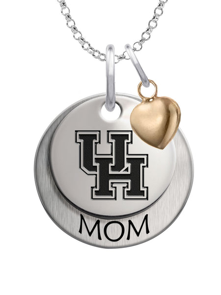 Houston Cougars MOM Necklace with Heart Accent