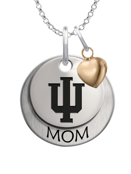 Indiana Hoosiers MOM Necklace with Heart Accent - DealsAmazingDeals.com
